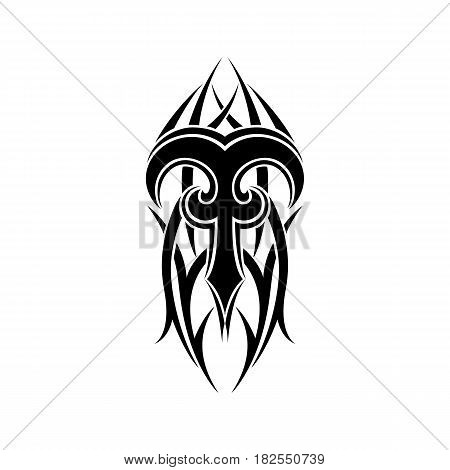 Aries zodiac. Abstract tribal tattoo design isolated on white background. Vector illustration.