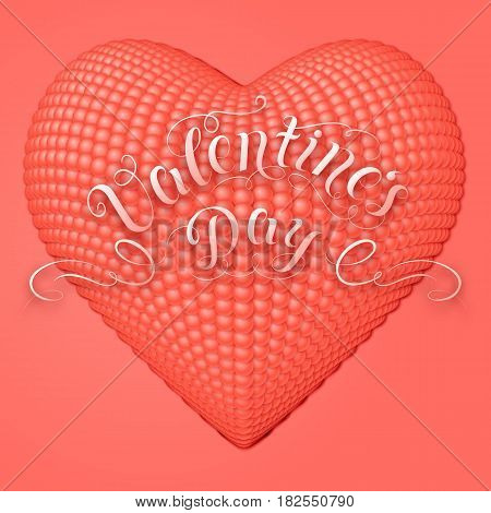 Valentine's Day vector card. Elegant volumetric heart composed from small pearls with soft shadows over light red background. Tender design for you gift or invitation card.