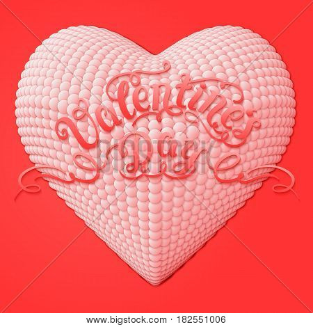 Valentine's Day vector card. Elegant volumetric heart composed from small pearls with soft shadows over red background. Tender design for you gift or invitation card.