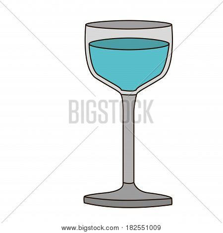 colorful silhouette of glass cup with water and delineated vector illustration