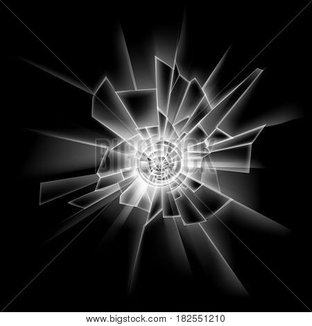 Vector Transparent Crack Glass Window Close up Isolated on Dark Black Background