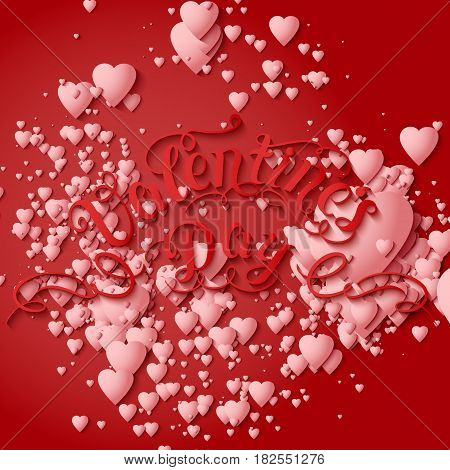 Valentine's Day vector card. Elegant volumetric white hearts with soft shadows over red background. Tender design for you gift or invitation card.