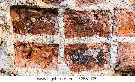 Old Vintage Distressed Red Brick Wall Vertical Texture. Shabby Brown - Red Brickwall Urban Background. Grungy Street Exterior Stonewall Surface. Abstract Solid Rough Bumpy Uneven Structure.