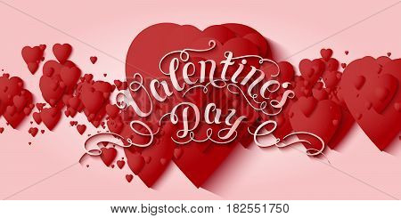 Valentine's Day vector card. Elegant volumetric red hearts with soft shadows over light red background. Tender design for you gift or invitation card.