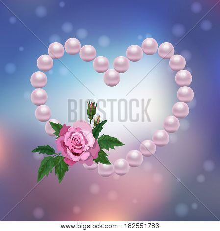 Very high quality original trendy vector illustration of th pearl heart on colorful background