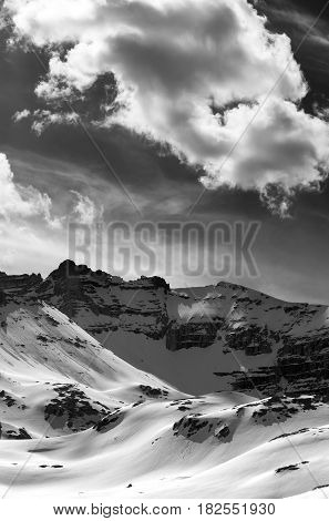 Black And White View On Snow Mountains In Evening