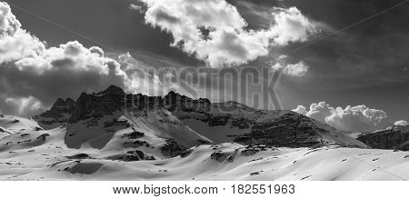 Black And White Panorama Mountains