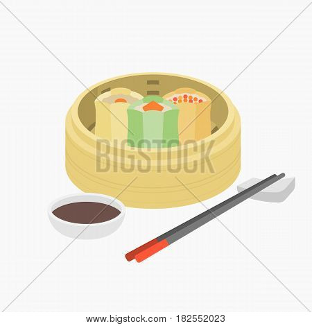 Dim sum, Chinese pork and prawn steamed dumping in basket with chopstick and black vinegar sauce, flat design