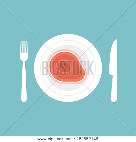 Knife and fork with steak in plate for dinning and restaurant sign icon, flat design