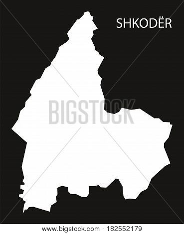 Shkoder Albania Map Black Inverted Silhouette Illustration