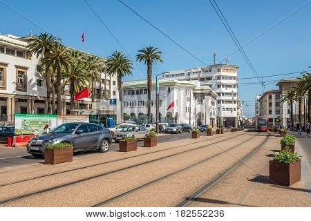 CASABLANCA ,MOROCCO - MARCH 31,2017 - In the street of Casablanca in Morocco. Casablanca is the largest city in Morocco.