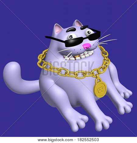 Cute fat cat in black glasses and gold medallion. 3D illustration. Cheerful pet . Funny cartoon cool character. Blue color background.