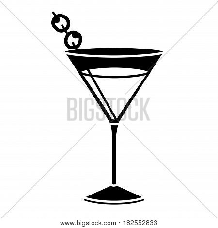 black silhouette of drink cocktail glass vermouth vector illustration