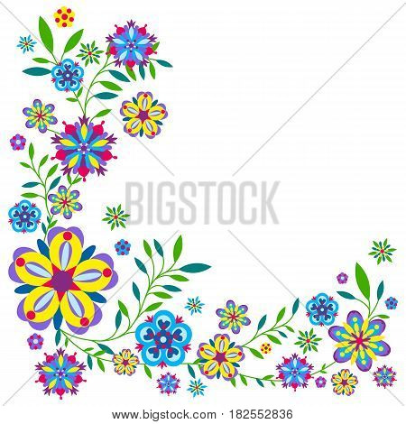Plant pattern with flowers and leaves. Vector illustration
