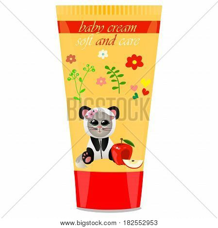 High quality original trendy vector Baby cream tube with kids design and cat in panda suit, apple illustration
