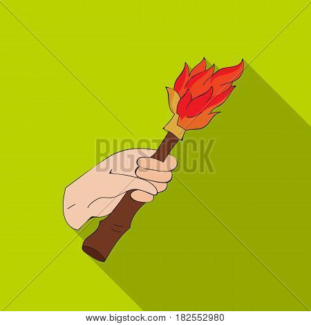Burning torch in the hand icon in flate style isolated on white background. Stone age symbol vector illustration.