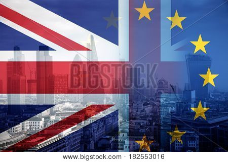 brexit concept - Union Jack flag and EU flag combined over windows of Skyscraper Business Office, Corporate building in London City, England, UK