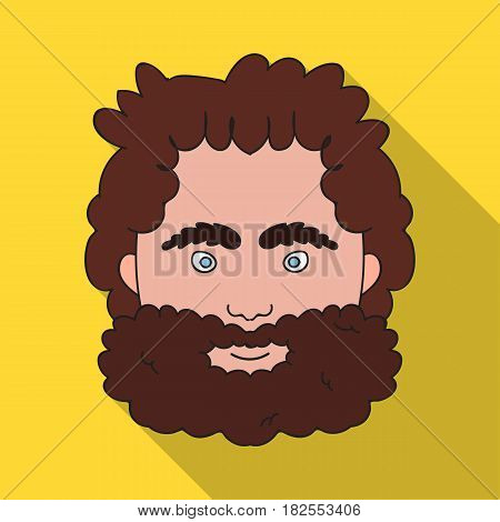 Caveman face icon in flate style isolated on white background. Stone age symbol vector illustration.