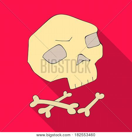 Human ancient bones icon in flate style isolated on white background. Stone age symbol vector illustration.