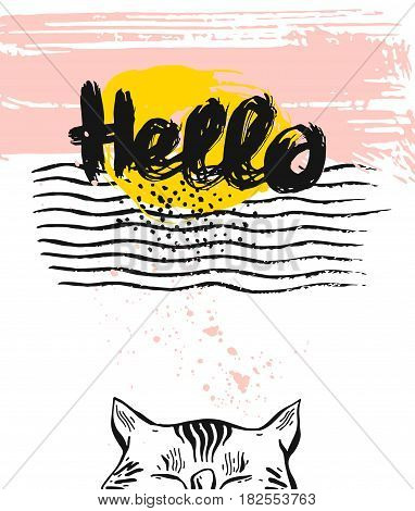 Hand drawn vector textured card template with cat.Hello ink handwritten lettering.Hello card, Happy Birthday card, holiday card, holiday background, greeting background, card with cat, textured card.