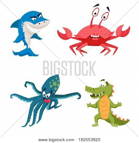 Cool shark, octopus, crocodile, crab. Funny monster print. Cute vector illustration. Comic sea characters.