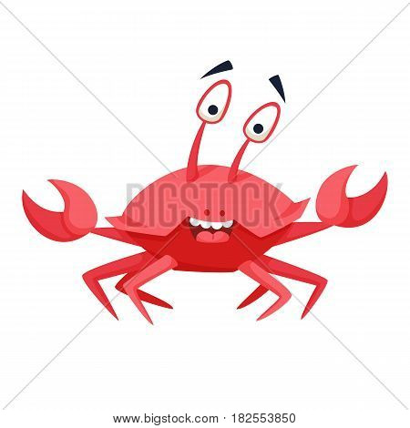 Cool crab. Funny monster print. Cute vector illustration. Comic sea character.