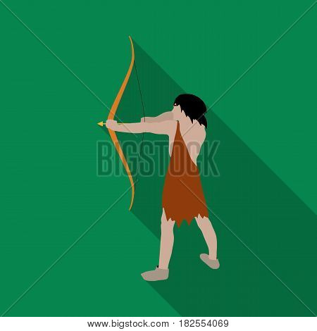 Caveman with bow and arrow icon in flate style isolated on white background. Stone age symbol vector illustration.