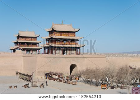Jiayuguan, China - Apr 13 2015: Monument Of Jiayuguan Pass, West End Of Great Wall. A Famous Histori