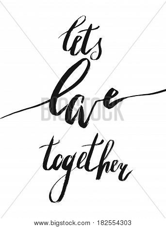 Romantic handwritten lettering quote Lets love together in gold hexagon isolated on white background