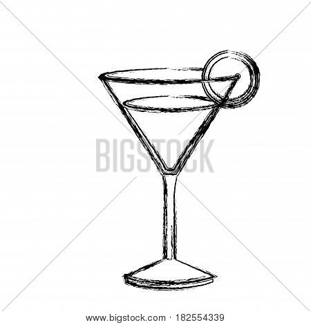 monochrome sketch silhouette of drink cocktail glass vermouth with slice of lemon vector illustration