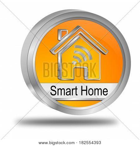 orange Smart Home Button - 3D illustration