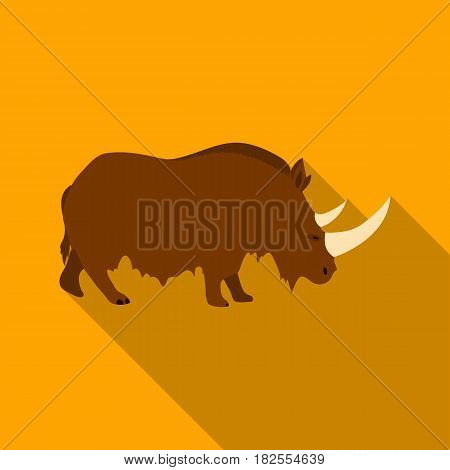 Woolly rhinoceros icon in flate style isolated on white background. Stone age symbol vector illustration.