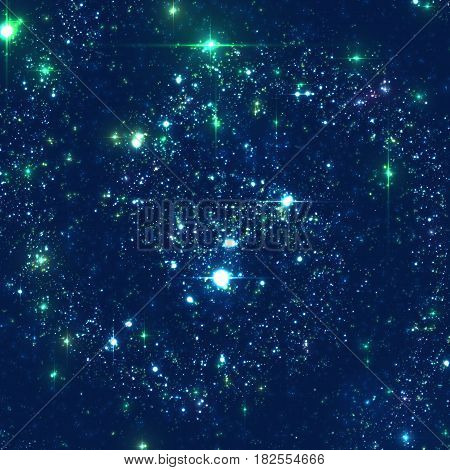 Abstract vector background with stars of distant galaxy. Illustration of deep space. Sparkles of stars and galaxies. Unknown part of cosmos somewhere far away from Earth.