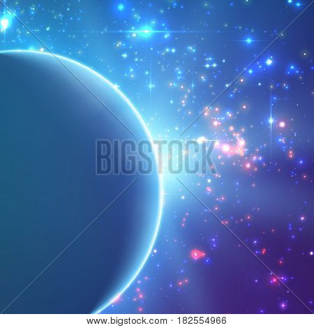 Abstract vector blue background with planet and eclipse of its star. Bright star light shine from the edge of a planet. Sparkles of stars on the background.