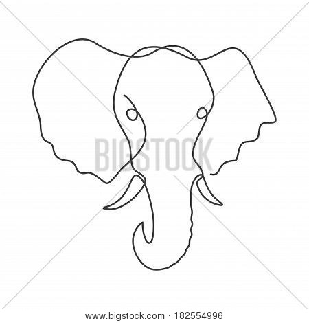 One line drawing an elephant. Black animal logo isolated on white background.