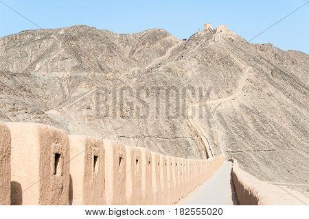 Gansu, China - Apr 14 2015: Overhanging Great Wall. A Famous Historic Site In Gansu, China.