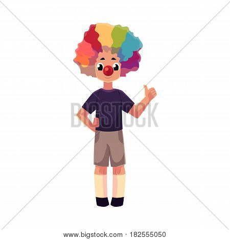 Little boy wearing clown nose and rainbow colored wig showing thumb up, cartoon vector illustration isolated on white background. Full length portrait of little boy wearing clown red nose and wig