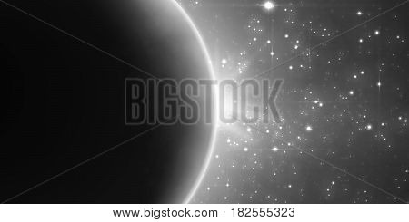 Abstract vector monochrome background with planet and eclipse of its star. Bright star light shine from the edge of a planet with a protuberance. Sparkles of stars on the background.