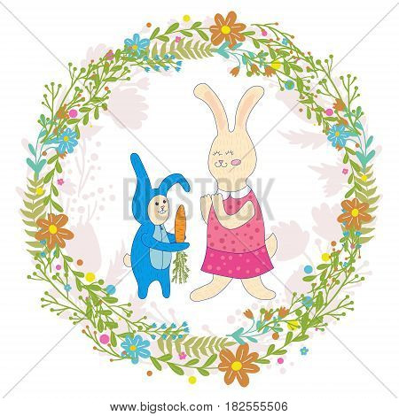 Mothers day greeting card.Baby rabbit gives mom carrots, Wreath of flowers.Cute hand drawn animal characters for kids design