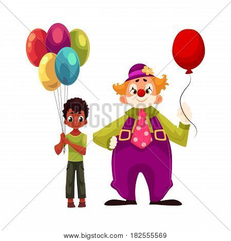 Black, African American boy holding balloons standing with funny clown, cartoon vector illustration isolated on white background.