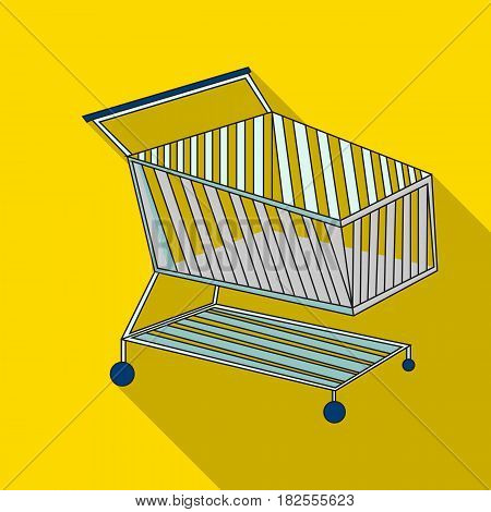 Shopping cart icon in flate design isolated on white background. Supermarket symbol stock vector illustration.