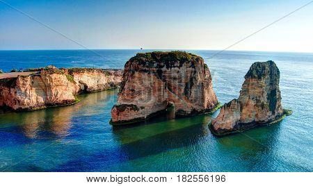 View Raouche or Pigeon Rock Beirut Lebanon