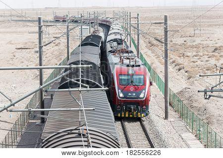 Gansu, China - Apr 13 2015: China Railways Hxd1D Electric Locomotive In Jiayuguan, Gansu, China. Hxd