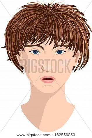 Pretty young woman face vector illustration. White skin blue eyes and broun haired.