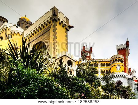 Panorama view to Pena palace in Sintra Portugal