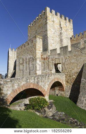 Lisbon, Portugal, April 5, 2017 : Saint George Castle (castelo De Sao Jorge) Is A Strongly Fortified
