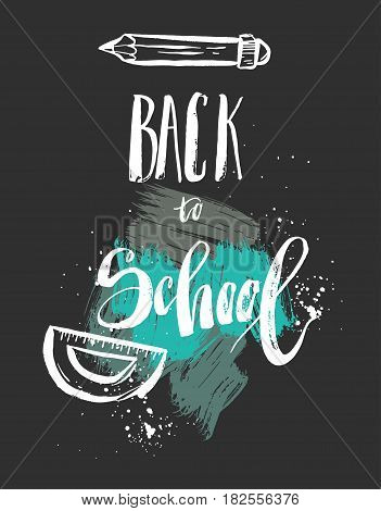 Hand drawn vector abstract textured poster with handwritten ink lettering phase Back to school in green colors isolated on black background.