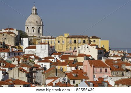 Lisbon, Portugal, April 5, 2017 : Roofs Of Alfama. Alfama Is The Oldest District Of Lisbon, Spreadin
