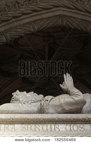 Lisbon, Portugal, April 6, 2017 : Neomanueline Tomb Of Poet De Camoes In Jeronimos Monastery. One Of