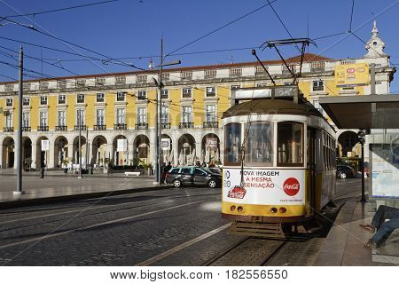 Lisbon, Portugal, April 6, 2017 : Tramway In Praca Do Commercio. The Tramway Network Serves The Capi